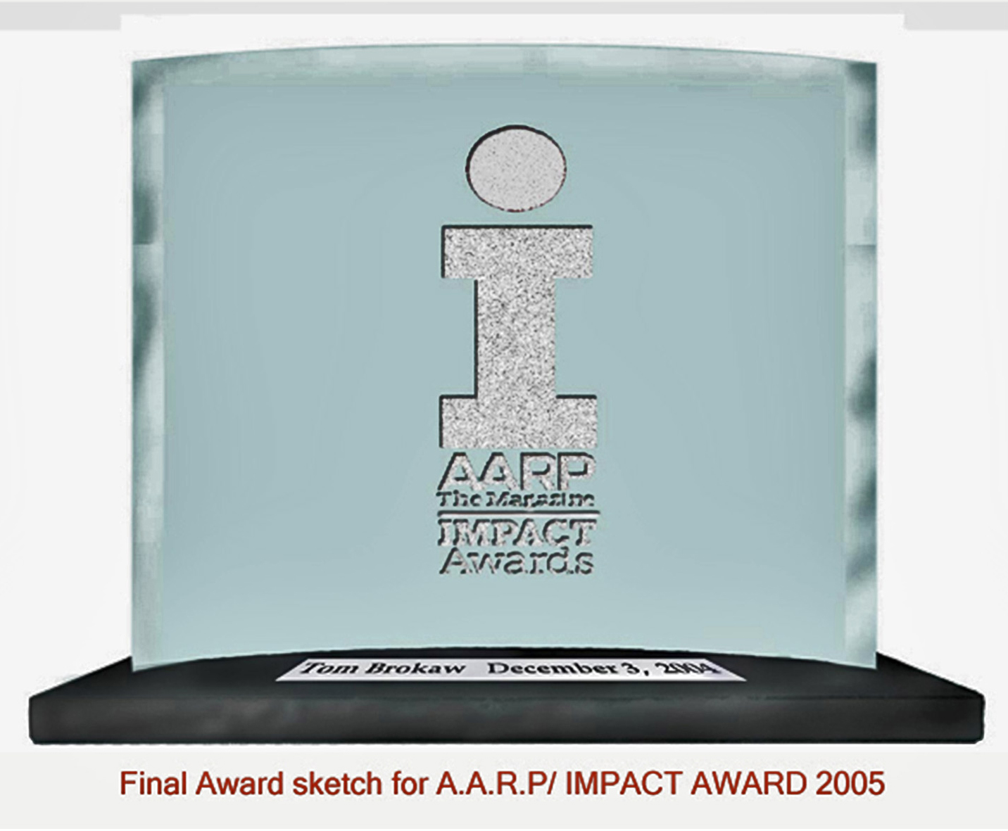 Douglas Randall AARP award in glass